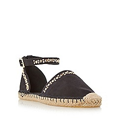 Head Over Heels by Dune - Black 'Giggy' studded two part espadrille shoe