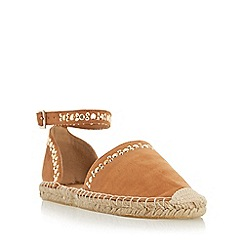 Head Over Heels by Dune - Tan 'Giggy' studded two part espadrille shoe