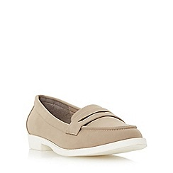 Head Over Heels by Dune - Taupe 'Golette' white sole penny loafer