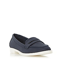 Head Over Heels by Dune - Navy 'Golette' white sole penny loafer