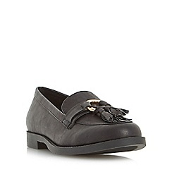 Head Over Heels by Dune - Black 'Gussie' ring and tassel detail loafer