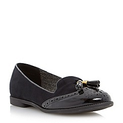 Head Over Heels by Dune - Black 'Lume' brougue detail tassel loafer
