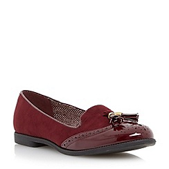 Head Over Heels by Dune - Maroon 'Lume' brougue detail tassel loafer