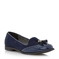 Head Over Heels by Dune - Blue brougue detail tassel loafer