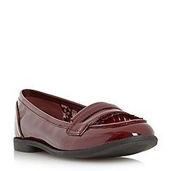 Head Over Heels by Dune - Maroon 'Gliss' fringe deatil loafer