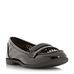 Head Over Heels by Dune - Black 'Gliss' fringe deatil loafer