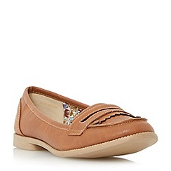 Head Over Heels by Dune - Tan 'Gliss' fringe deatil loafer