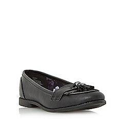Head Over Heels by Dune - Black 'Glynnis' fringe and tassel detail loafer