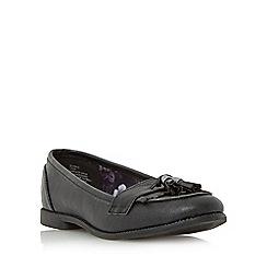 Head Over Heels by Dune - Black 'Glynnis' fringe and tassel detail loafer