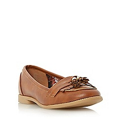 Head Over Heels by Dune - Tan 'Glynnis' fringe and tassel detail loafer