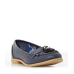 Head Over Heels by Dune - Navy 'Glynnis' fringe and tassel detail loafer