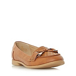 Head Over Heels by Dune - Tan 'Gemm' bow trim woven loafer