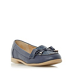 Head Over Heels by Dune - Navy 'Gemm' bow trim woven loafer