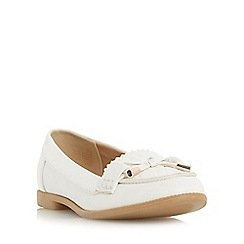 Head Over Heels by Dune - White 'Gemm' bow trim woven loafer