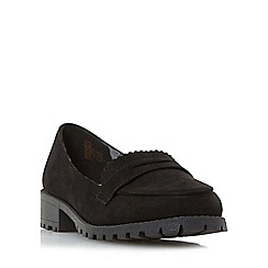 Head Over Heels by Dune - Black 'Gissell' cleated sole penny loafer shoe