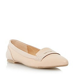 Head Over Heels by Dune - Neutral patent detail pointed toe penny loafer