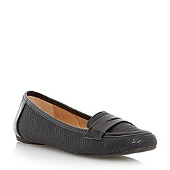 Head Over Heels by Dune - Black reptile print penny loafer shoe