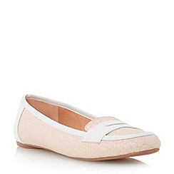 Head Over Heels by Dune - Neutral reptile print penny loafer shoe