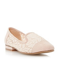 Head Over Heels by Dune - Natural 'Gesell' lace slipper cut shoe