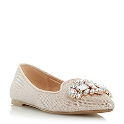 Head Over Heels by Dune - Gold 'Loulu' jewelled brooch trim pointed toe flat shoe