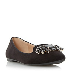 Head Over Heels by Dune - Black 'Loulu' jewelled brooch trim pointed toe flat shoe