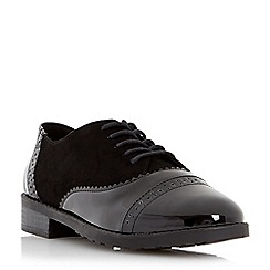 Head Over Heels by Dune - Black 'Fixity' mixed material lace up brogue