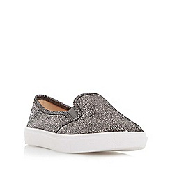Head Over Heels by Dune - Silver 'Elsaa' cracked leather effect slip on trainer