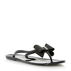 Head Over Heels by Dune - Black bow and diamante jelly flat sandal