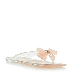 Head Over Heels by Dune - Neutral bow and diamante jelly flat sandal