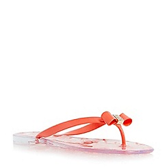 Head Over Heels by Dune - Dark peach 'Lorrisa' bow and diamante detail jelly sandal