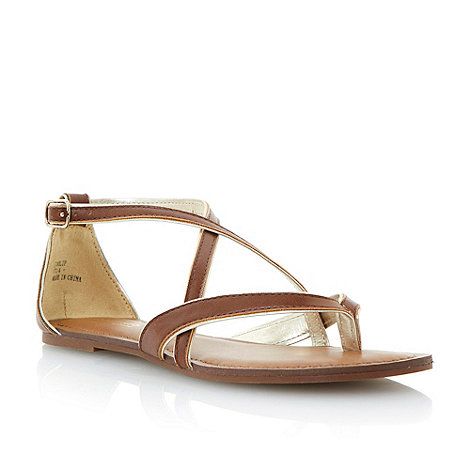 Head Over Heels by Dune - Tan crossover strappy sandal