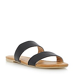 Head Over Heels by Dune - Black double strap flat sandal