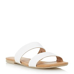 Head Over Heels by Dune - White 'Lagunas' double strap flat sandal