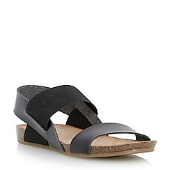 Head Over Heels by Dune - Black 'Larue' elasticated strap footbed sandal