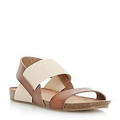 Head Over Heels by Dune - Tan 'Larue' elasticated strap footbed sandal