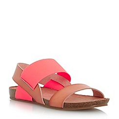 Head Over Heels by Dune - Dark peach 'Larue' elasticated strap footbed sandal