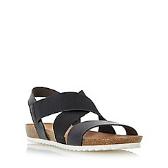 Head Over Heels by Dune - Black 'Laurelle' cross strap footbed flat sandal