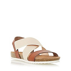 Head Over Heels by Dune - Tan 'Laurelle' cross strap footbed flat sandal