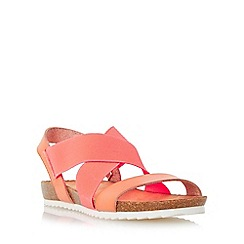 Head Over Heels by Dune - Dark peach 'Laurelle' cross strap footbed flat sandal