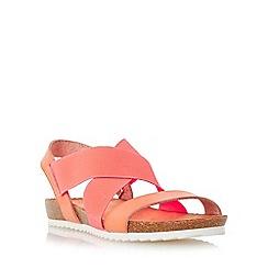 Head Over Heels by Dune - Dark peach 'Laurelle' cross strap footbed flat sandal