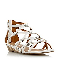 Head Over Heels by Dune - White 'Lagel' strappy mini wedge sandal