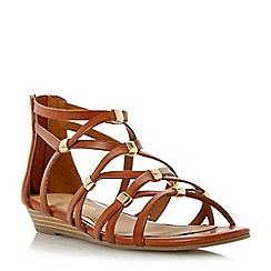 Head Over Heels by Dune - Tan 'Lagel' strappy mini wedge sandal