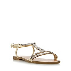 Head Over Heels by Dune - Light gold 'Laina' bead embellished flat sandal