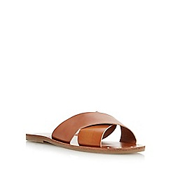 Head Over Heels by Dune - Tan 'Landal' studded cross strap sandal