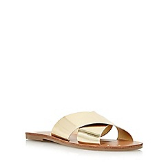 Head Over Heels by Dune - Gold 'Landal' studded cross strap sandal