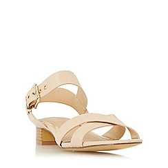 Head Over Heels by Dune - Natural 'Nadie' block heel cross strap sandal