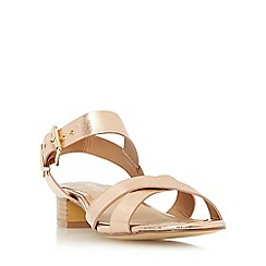 Head Over Heels by Dune - Rose 'Nadie' block heel cross strap sandal