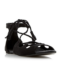 Head Over Heels by Dune - Black 'Lillie' ghillie lace flat sandal