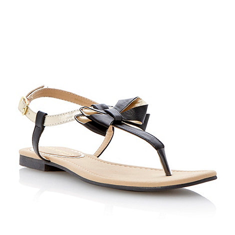 Head Over Heels by Dune - Black bow trim flat sandal