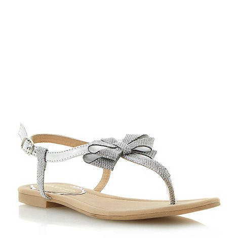 Head Over Heels by Dune - Silver metallic bow trim flat sandal